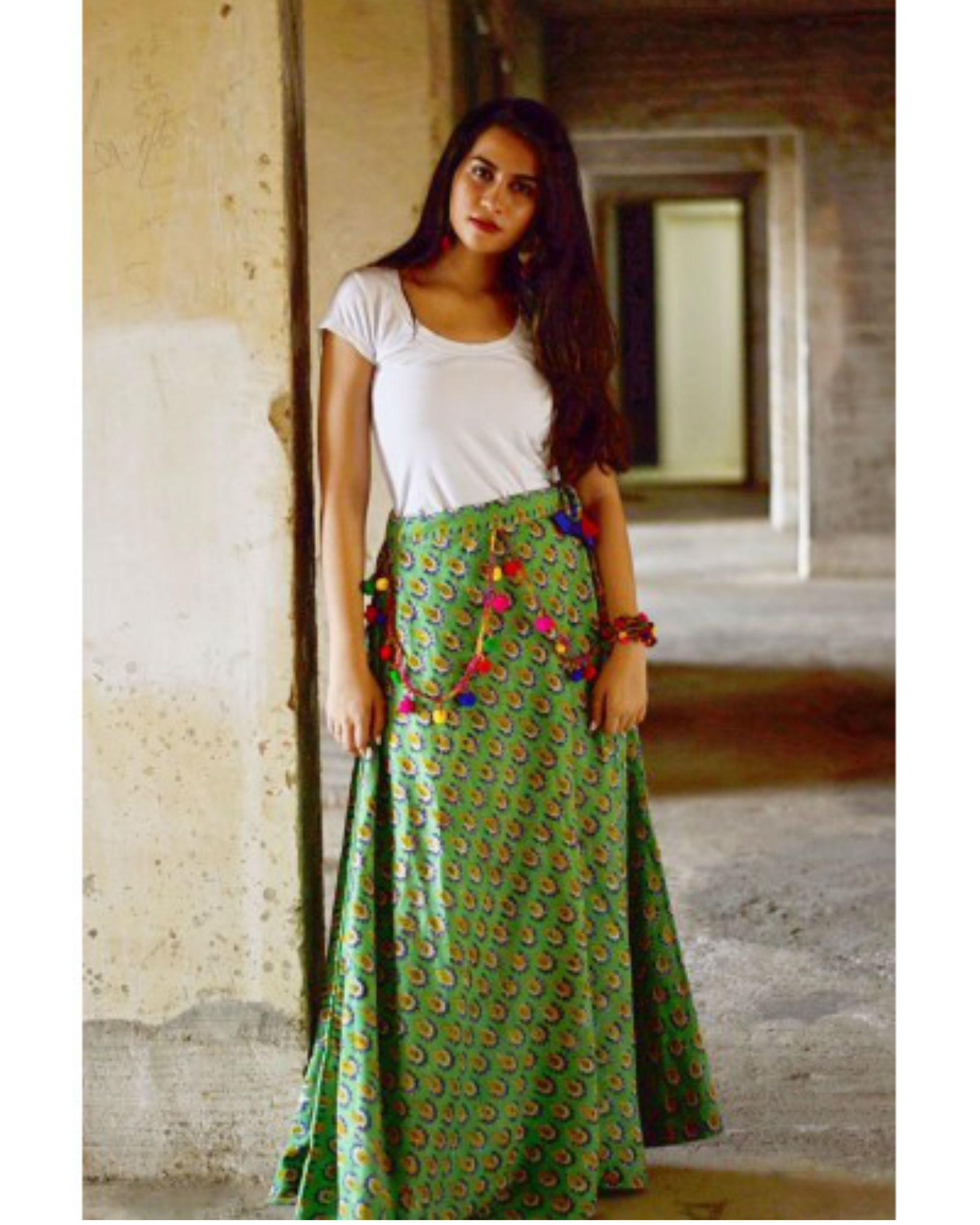 Green flower ghaghra