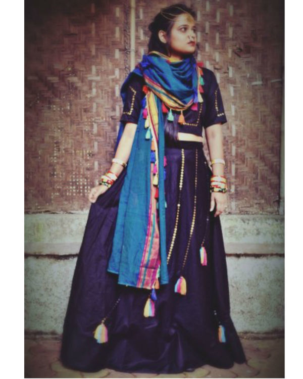Black boho ghaghra set with dupatta