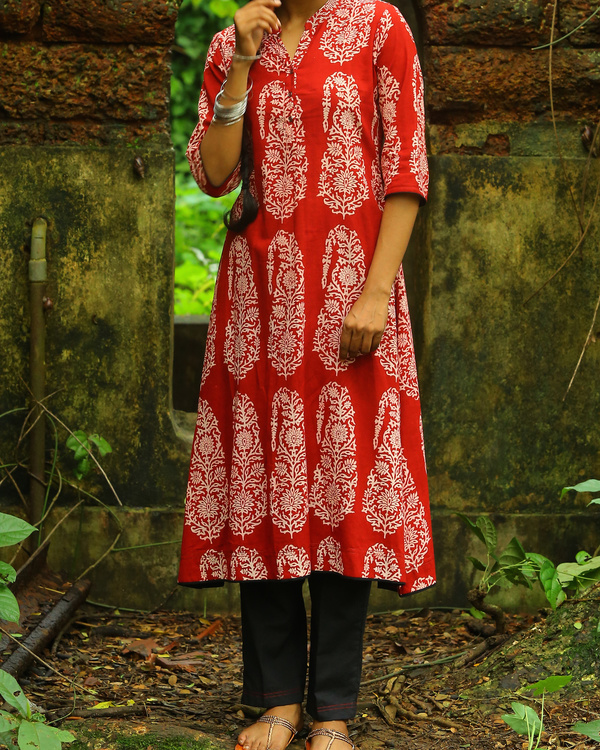 Madder red bagh printed cotton kurta