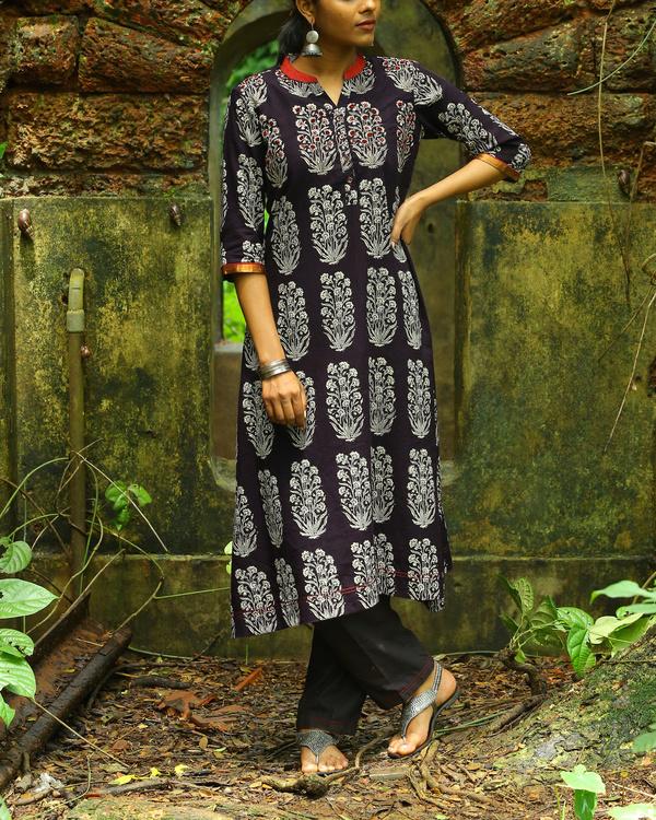 Black bagh printed cotton kurta