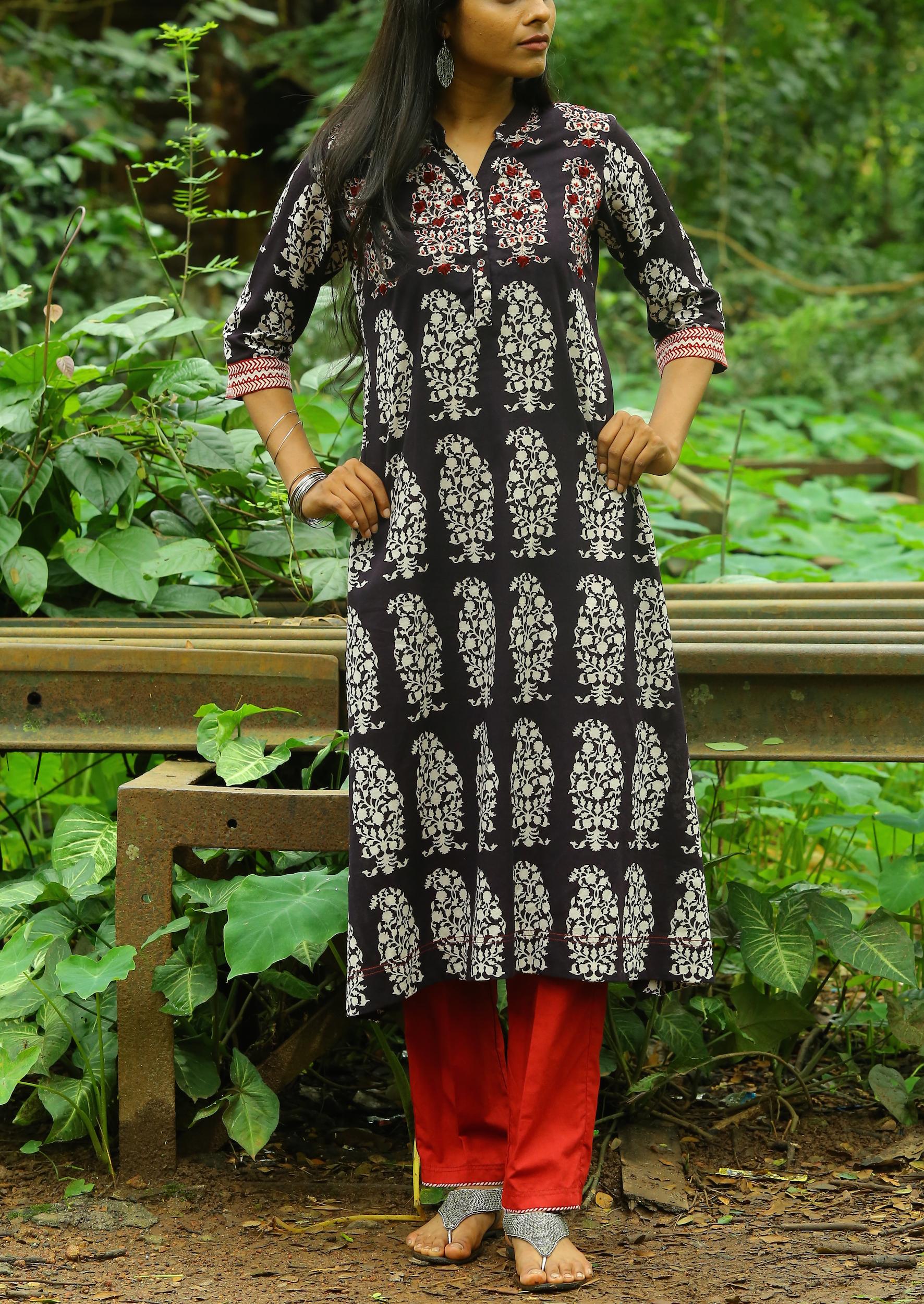 Classic black bagh printed cotton kurta