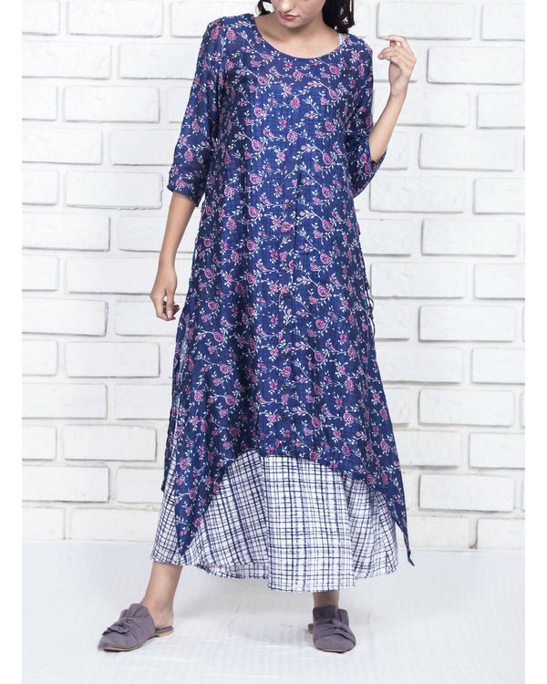 Floral silk cotton two piece kurta
