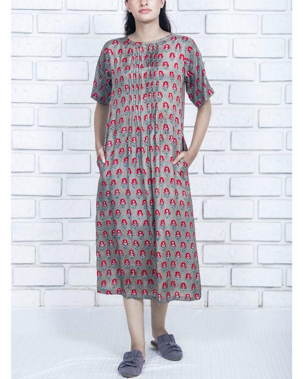 Charcoal grey silk cotton dress