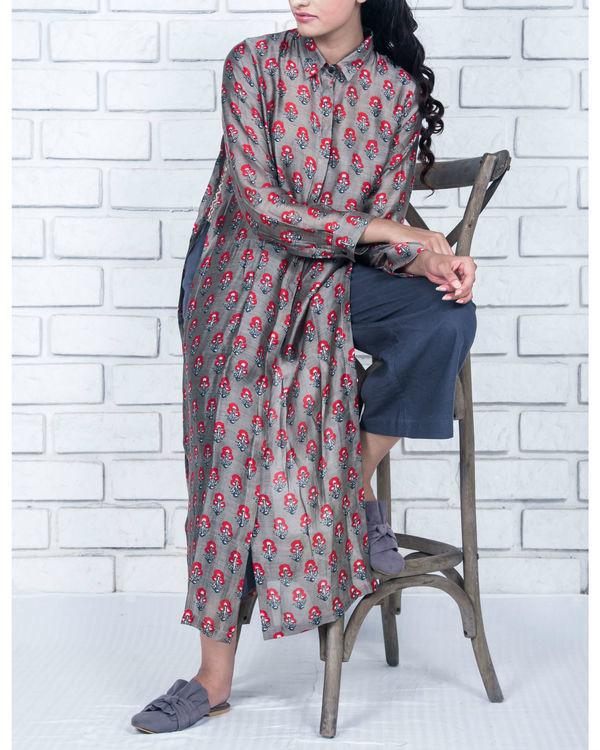 Floral charcoal grey side slit kurta