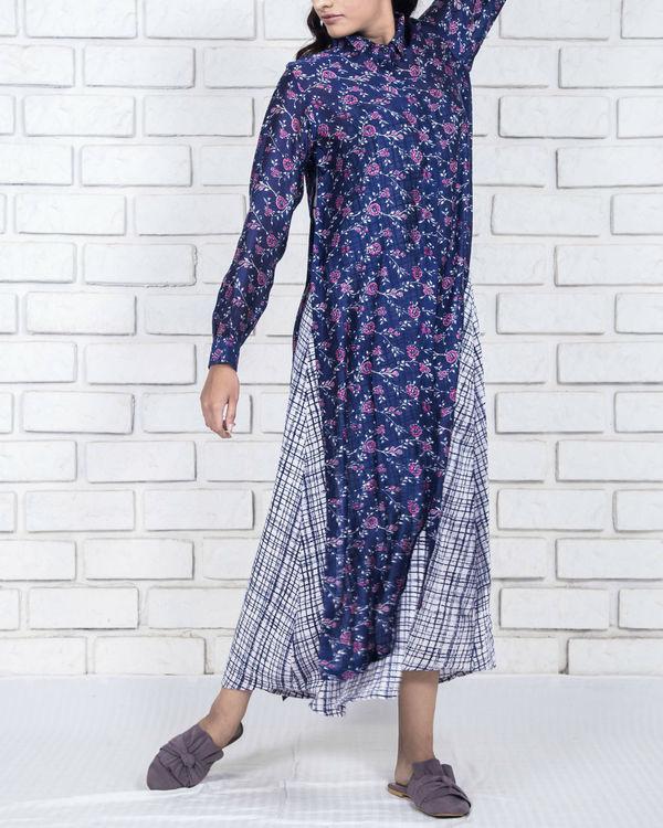 Deep blue cotton silk shirt kurta