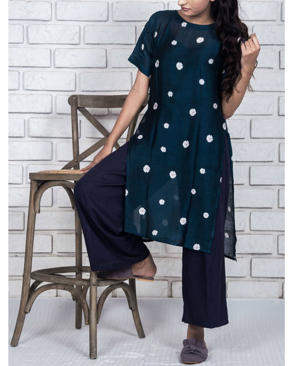 Midnight blue side slit kurta