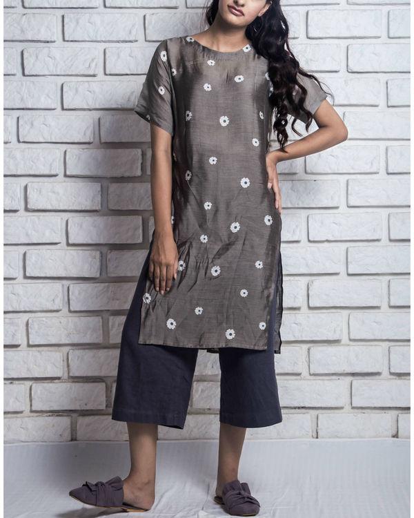 Charcoal grey side slit kurta