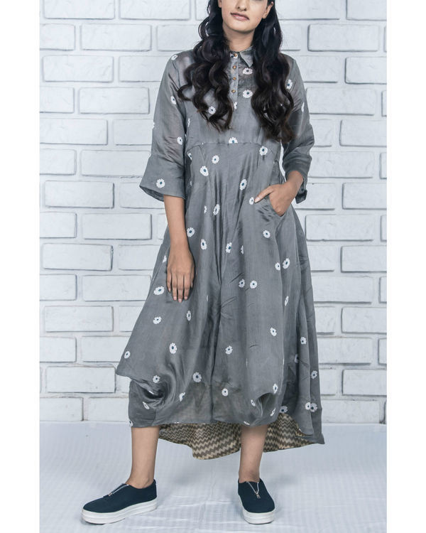 Charcoal grey silk cotton flowy dress