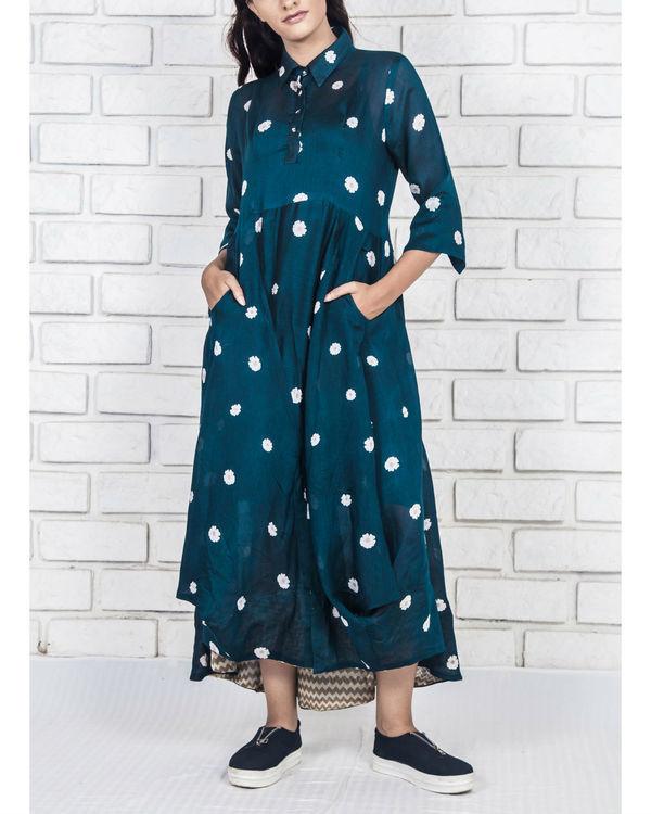 Midnight blue silk cotton flowy dress