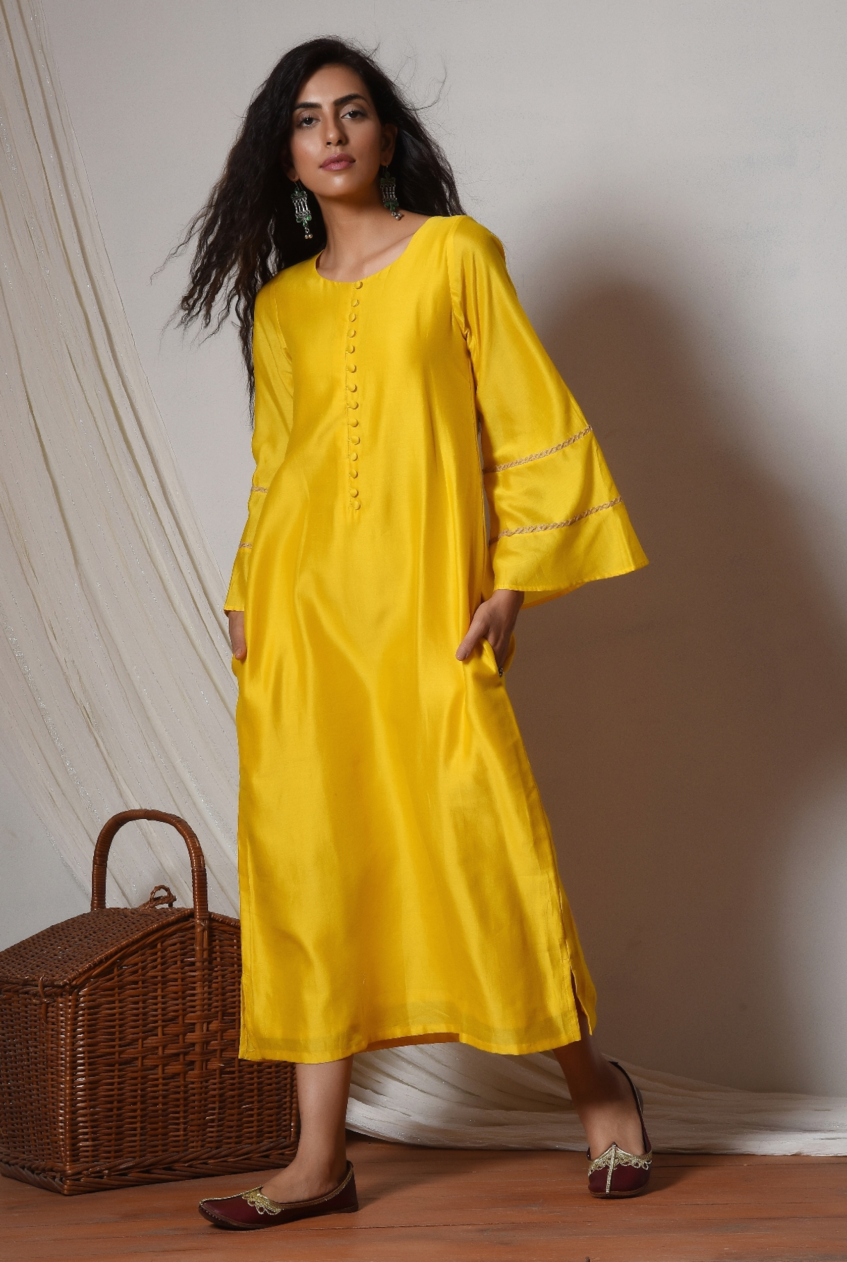 Yellow bell sleeve kurta dress