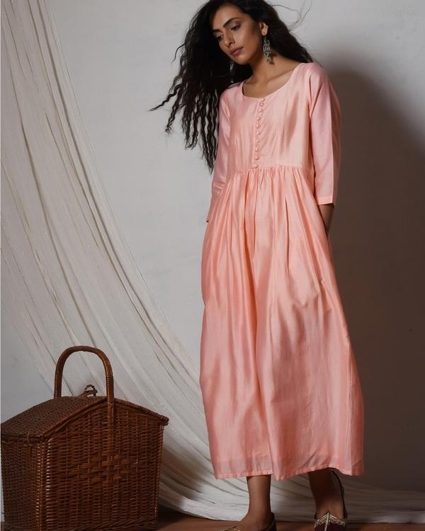Peach chanderi gathered kurta dress