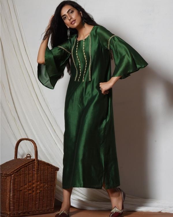Cocktail green jute kurta dress
