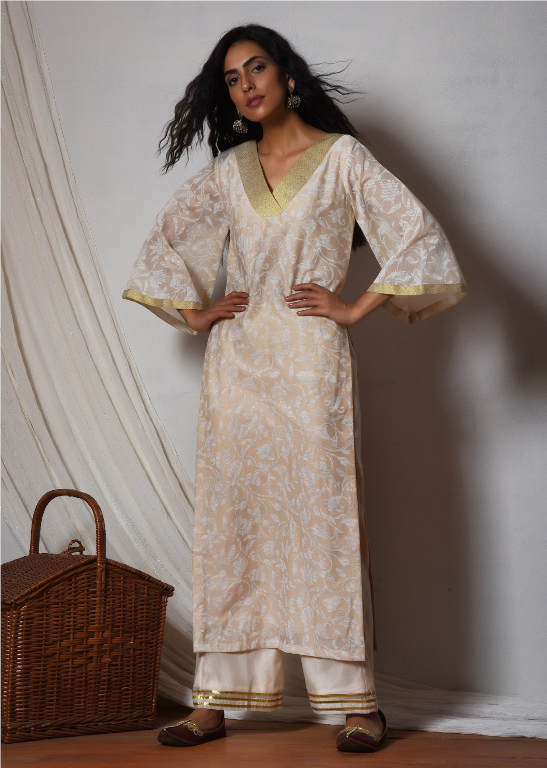 Beige floral kurta with ivory golden gota farshi pant