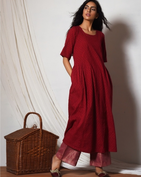 Red kurta with kota silk farshi pant