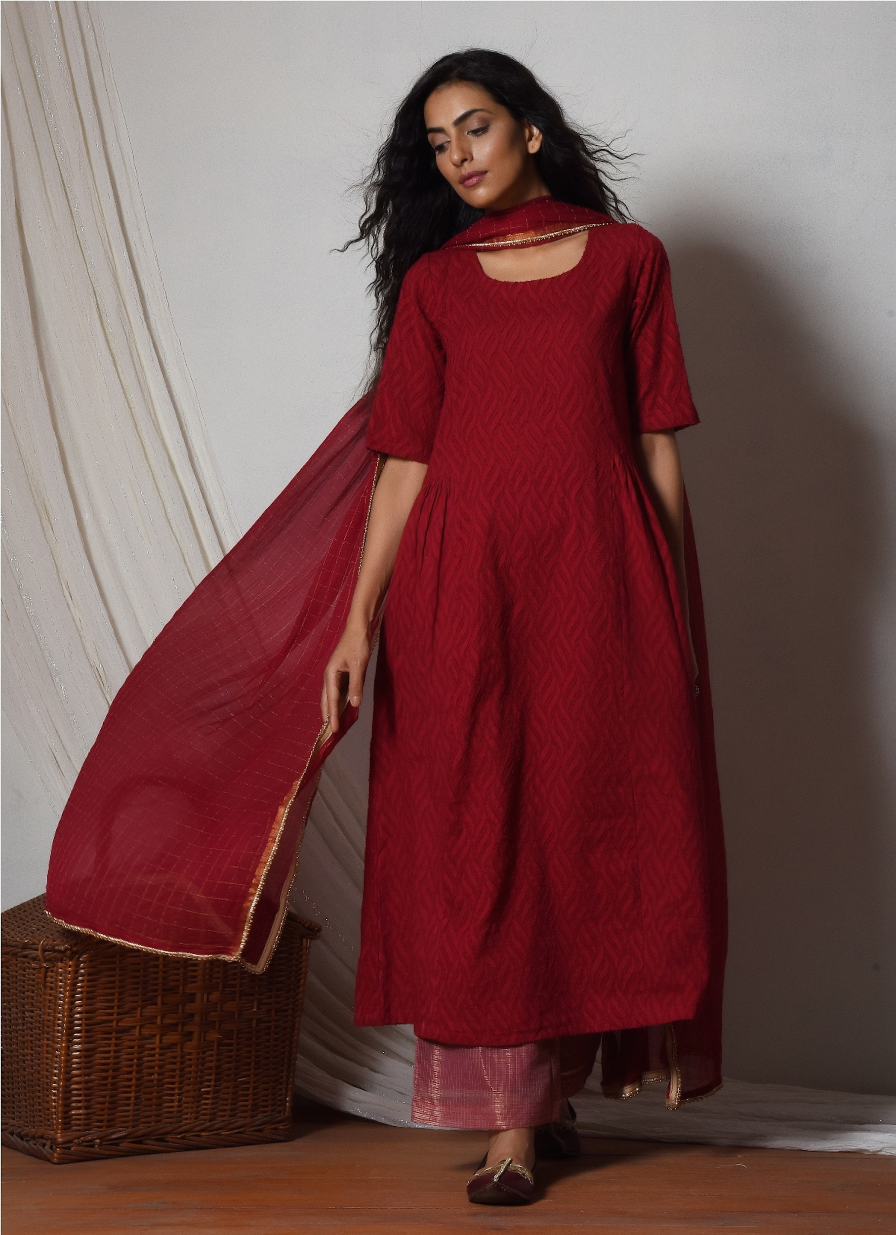 Red kurta with kota silk farshi pant and chiffon bordered dupatta