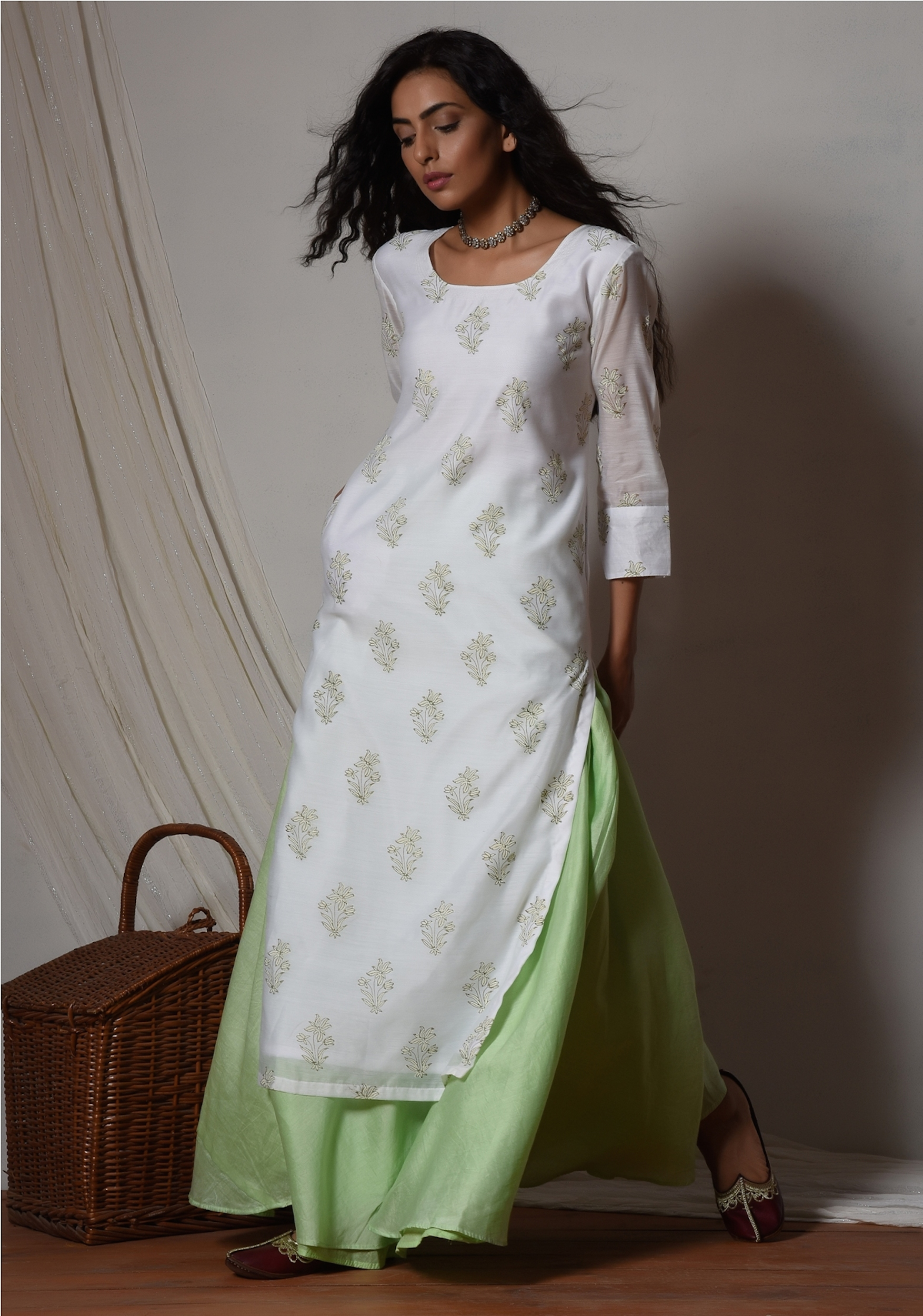 Floral white kurta with mint green chanderi skirt