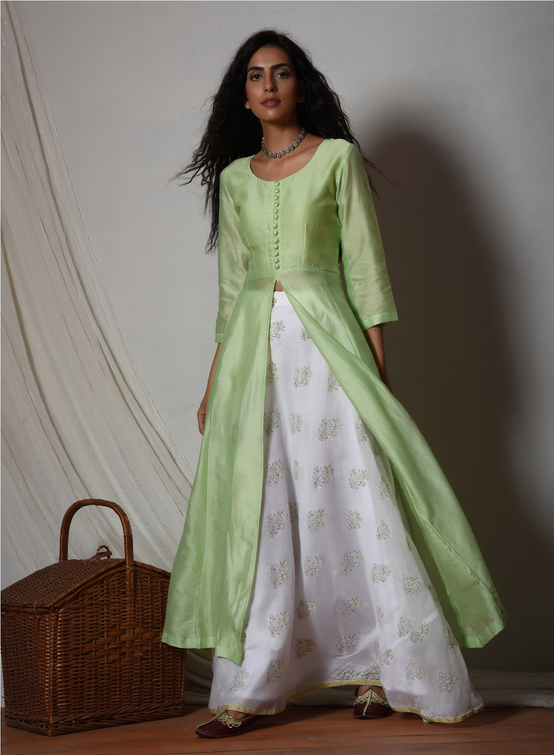 Mint green jacket kurta with floral white skirt