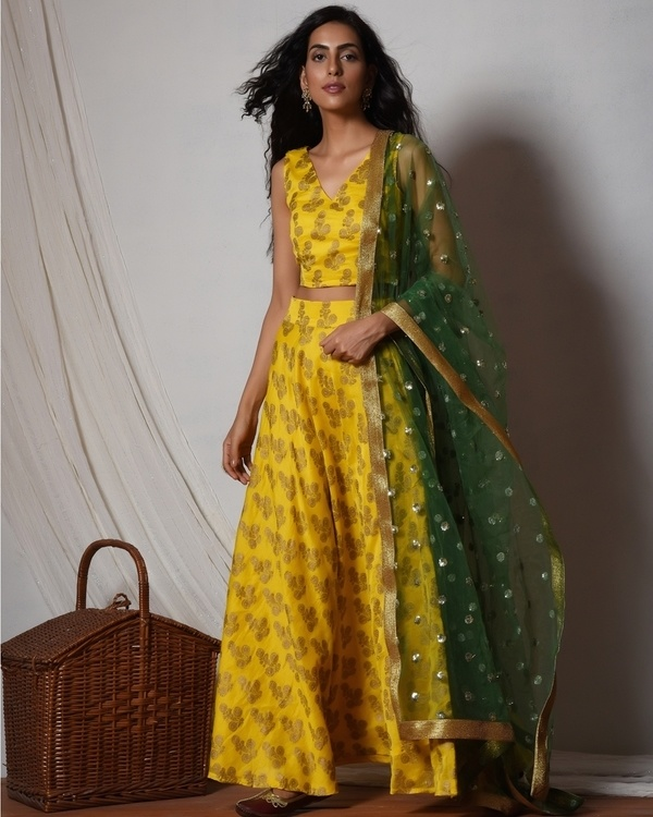 Yellow gold booti block print lehenga set