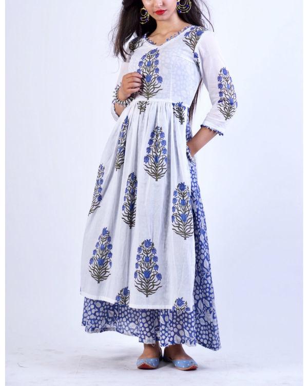 Blue maxi with mughal motif gathered tunic