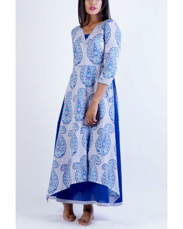 Blue layered uneven corner maxi dress