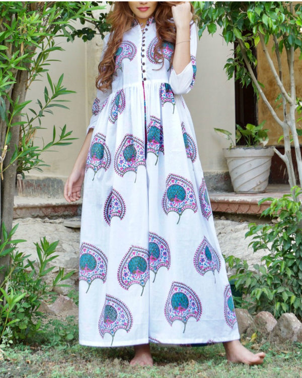 Blue and pink floral block printed maxi