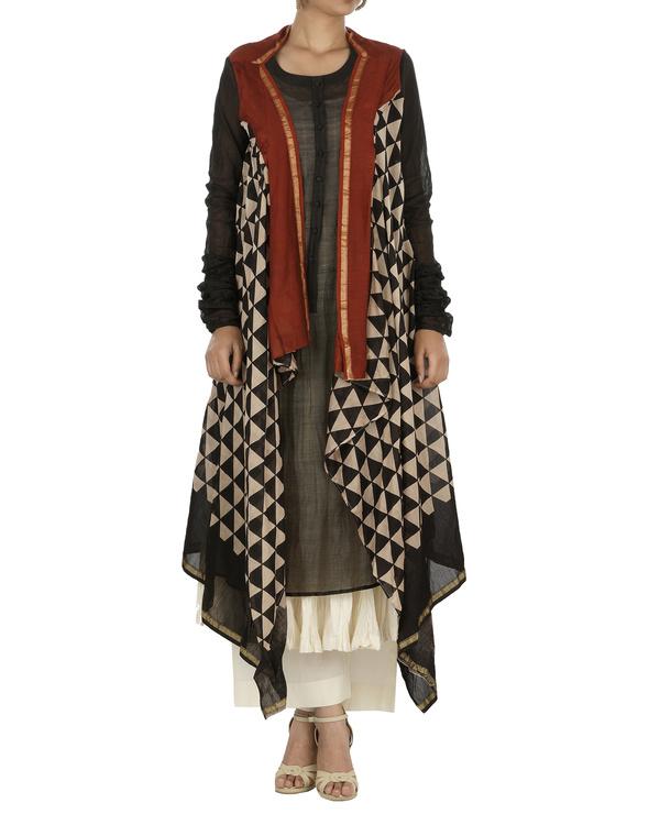 Bagru print drape kurta set