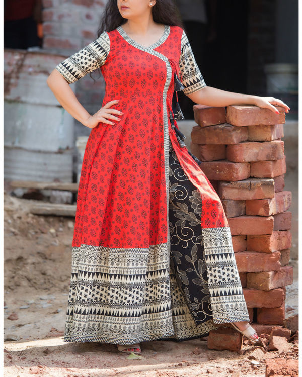 Red angrakha with black palazzo set