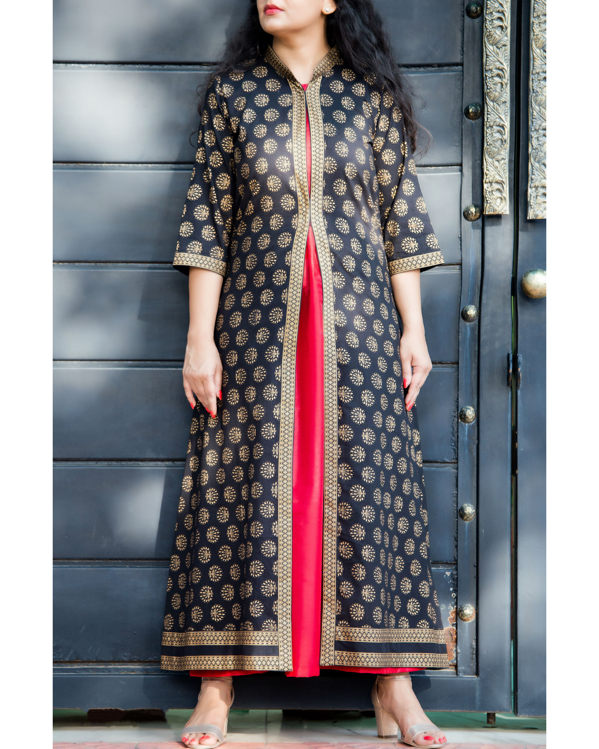 Black and gold embossed double layered dress