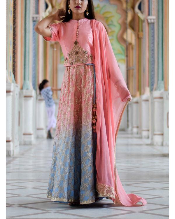 Blue pink shaded gota work lehanga