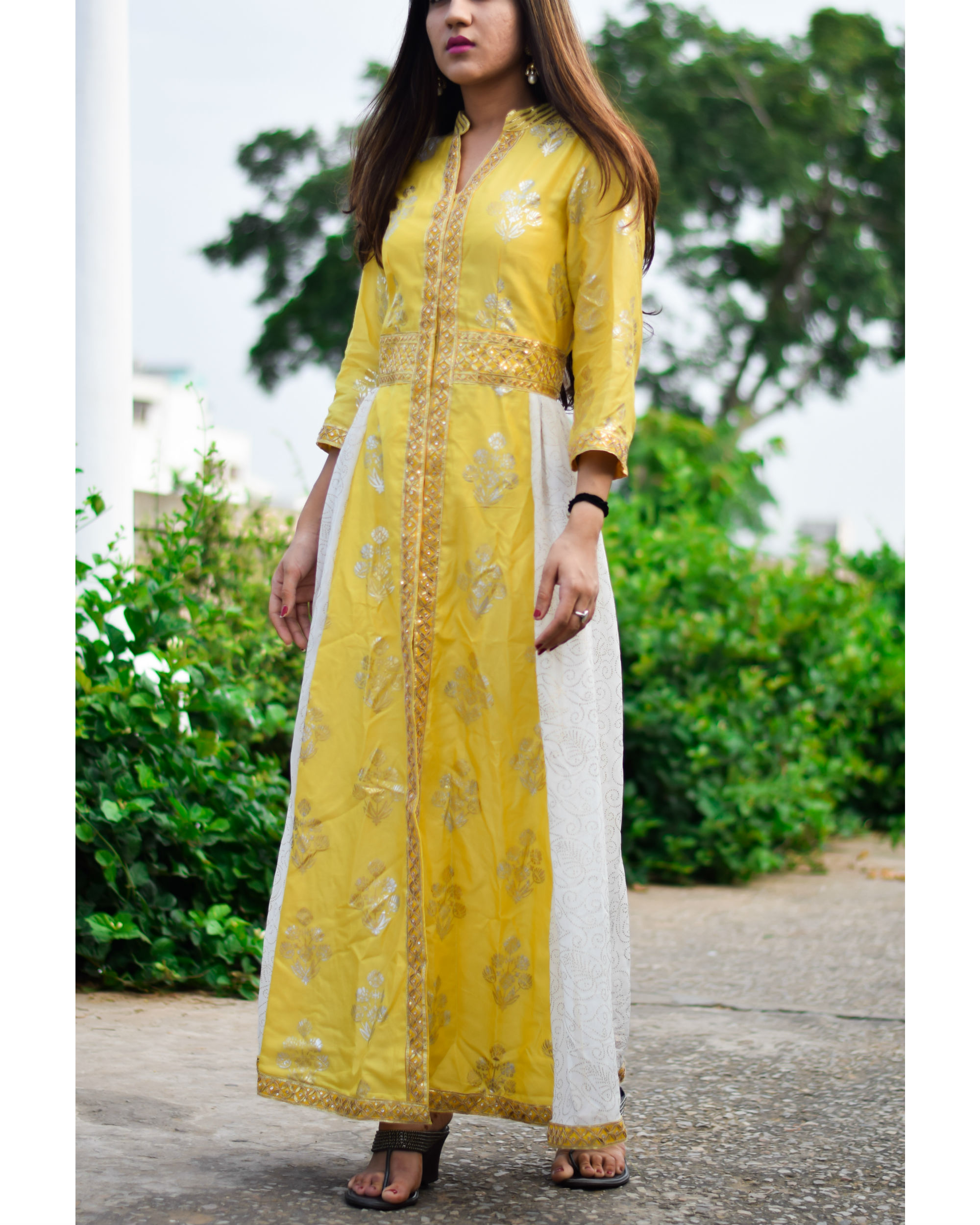 Yellow foil print dress with gota handwork