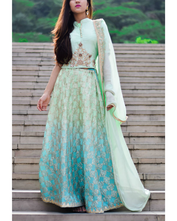 Blue mint green shaded gota work lehanga