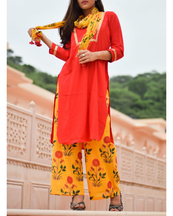Bright red kurta and yellow block printed pant with stole