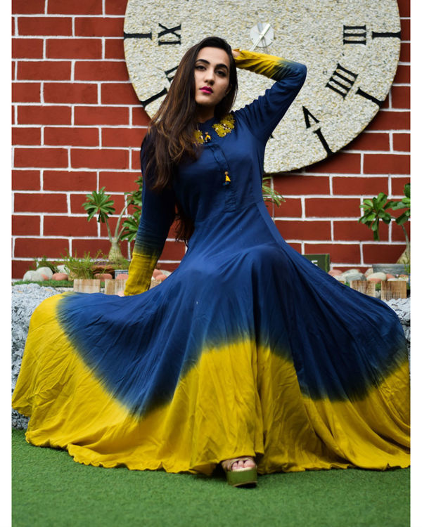 Blue and mustard  shaded gown