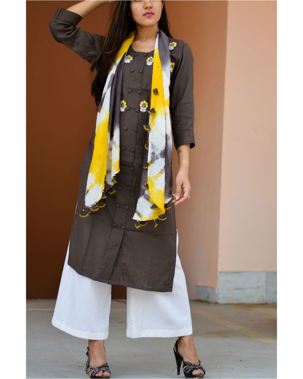 Brown embroidered kurta with a tie and dye stole