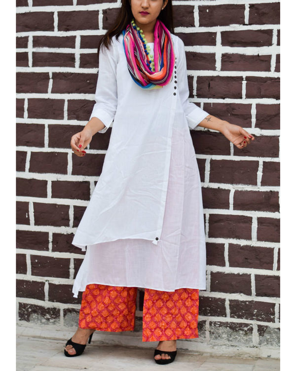 White asymmetrical kurta with block printed pant and multi-colored stole