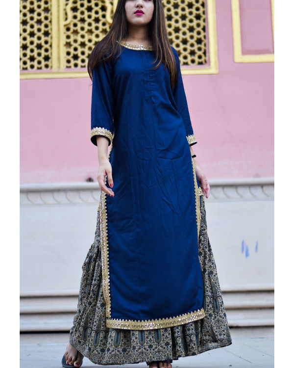 Blue and beige gold kurta with sharara set