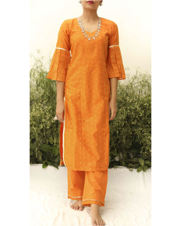 Orange chanderi straight suit