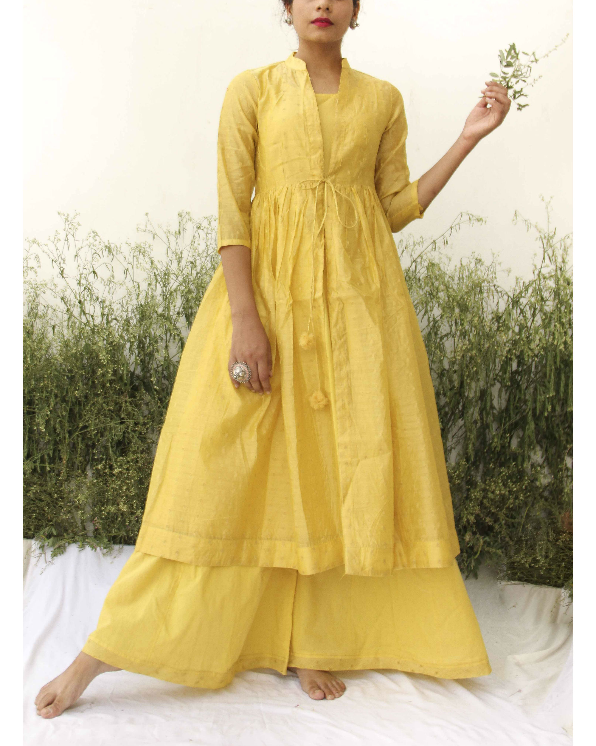 Yellow chanderi kurta flared palazzo set