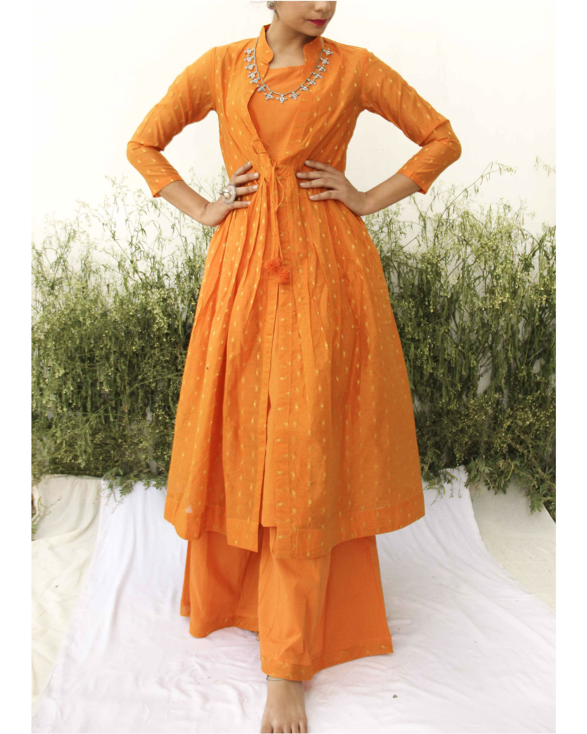 Orange chanderi kurta flared palazzo set