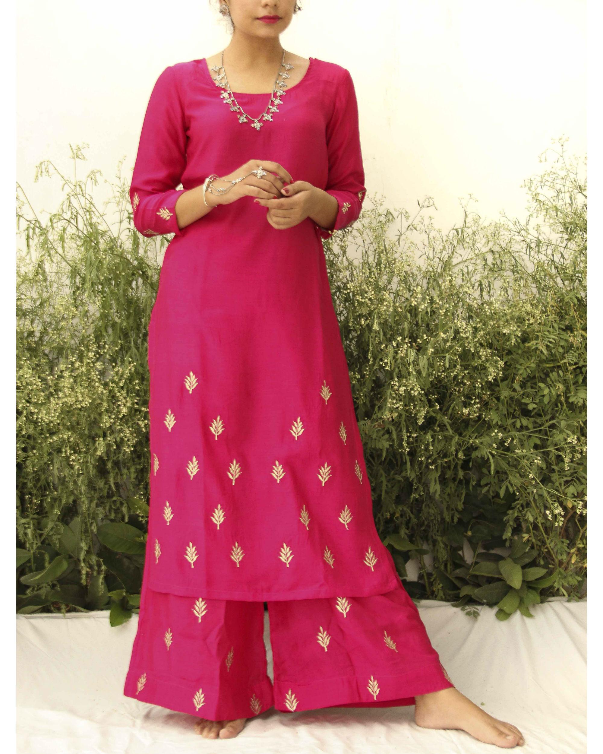 Fuchsia pink silk suit