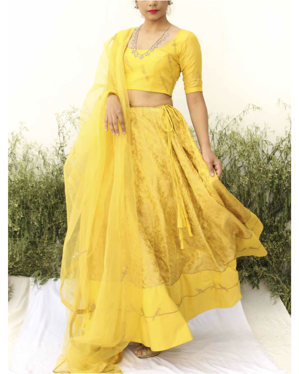 Yellow Banarasi Print lehenga set