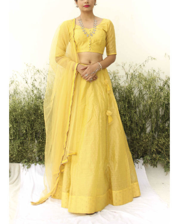Yellow chanderi lehenga