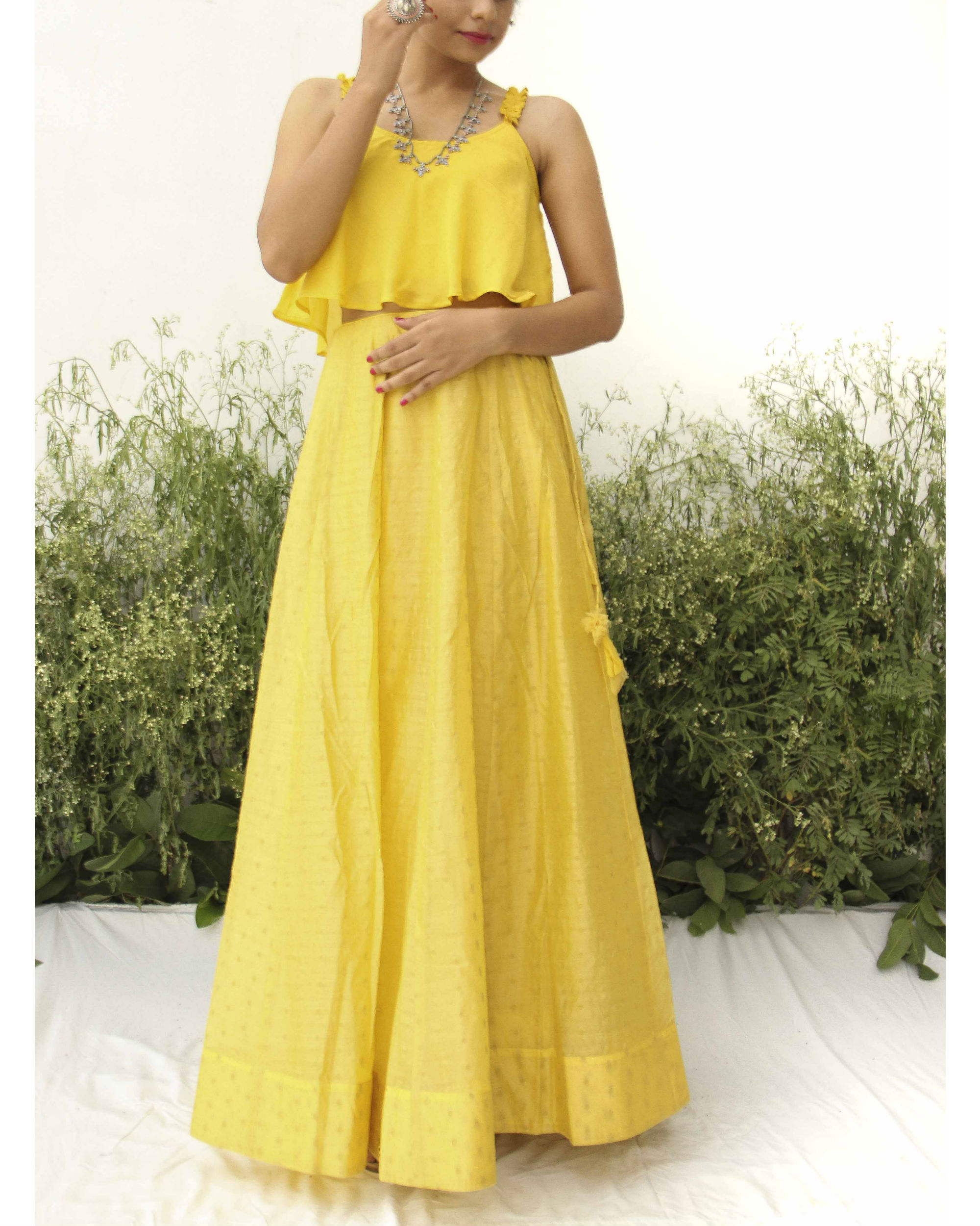 Yellow modal silk flared blouse lehenga