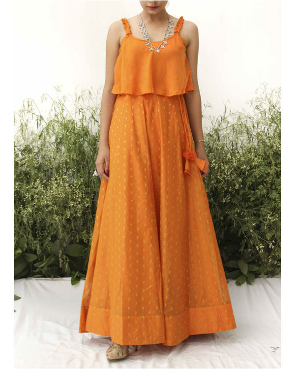 Orange modal silk flared blouse lehenga