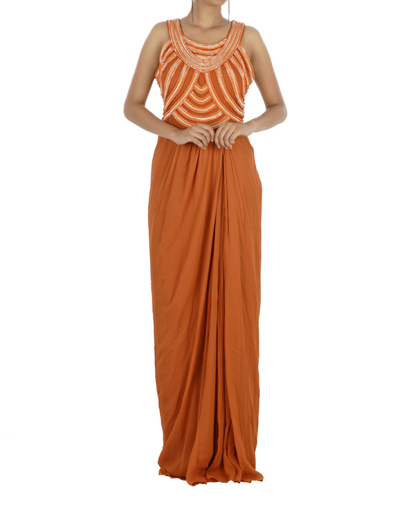 Embroidered orange gown