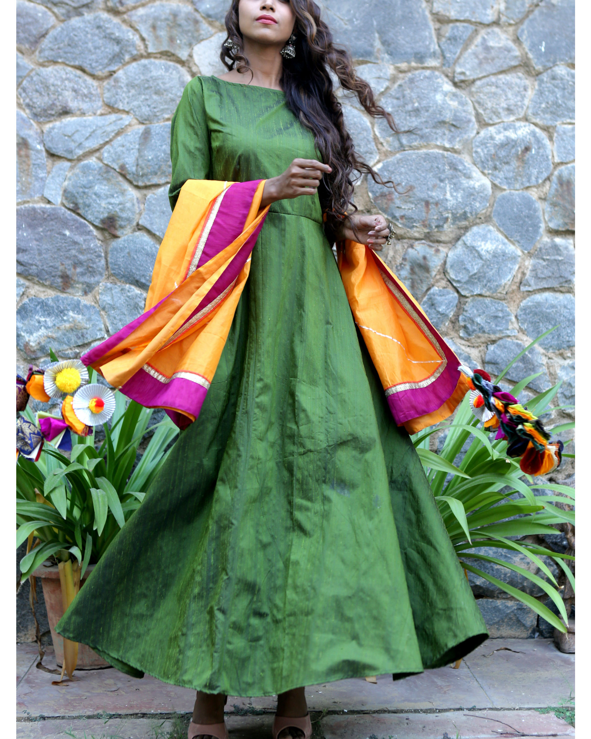 Moss green dress and dupatta set