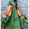 Thumb mossgreen long dress and dupatta set 2