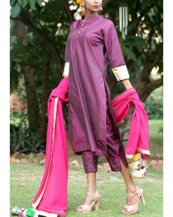 Berry purple silk suit set