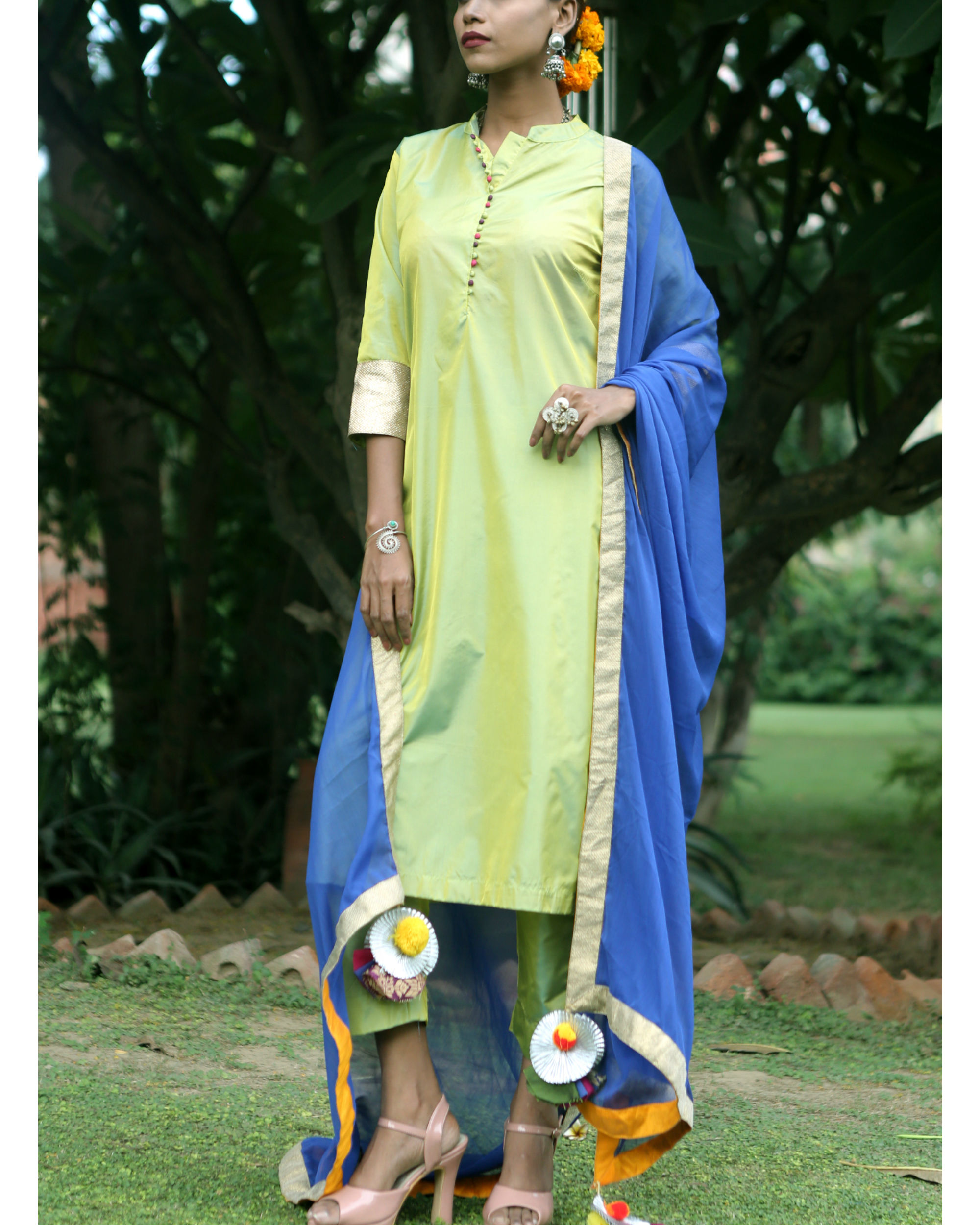 Sweet green silk suit set