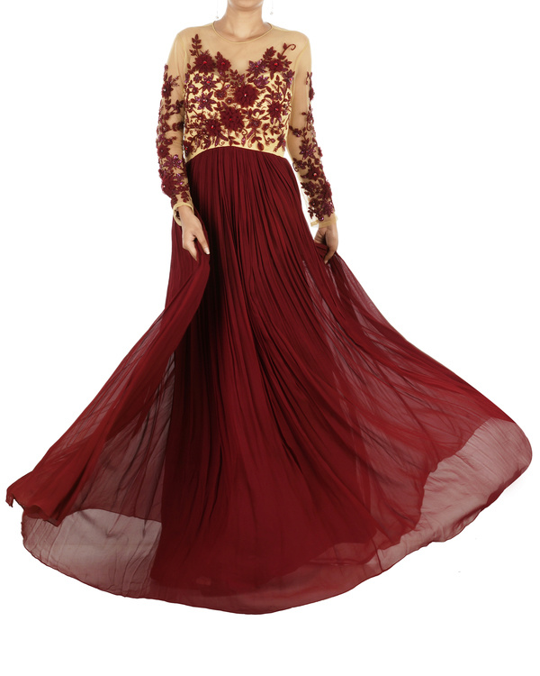 Maroon floral draped gown
